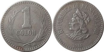 moneda Salvador 1 colon 1985