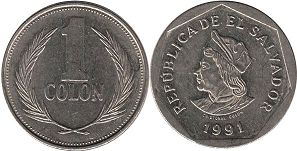 moneda Salvador 1 colon 1991