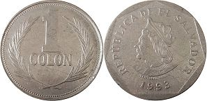 moneda Salvador 1 colon 1993