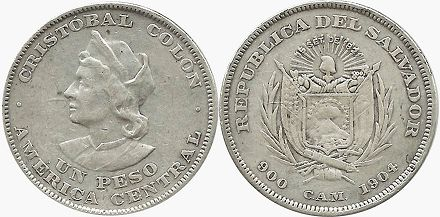 moneda Salvador 1 peso 1904