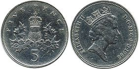 coin UK coin 5 pence 1988