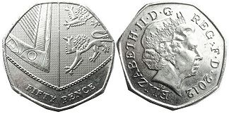 coin UK coin 50 pence 2012