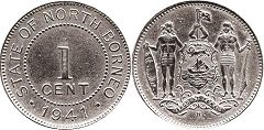coin British North Borneo 1 cent 1941