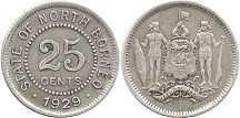 coin British North Borneo 25 cents 1929