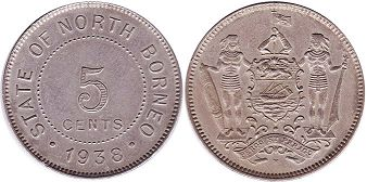 coin British North Borneo 5 cents 1938