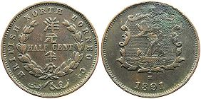 coin British North Borneo 1/2 cent 1891