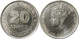 coin Malaya 20 cents 1943