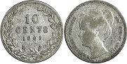 coin Netherlands 10 cents 1901