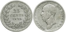 coin Netherlands 25 cents 1848