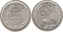 coin Netherlands 25 cents 1917