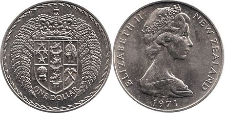 coin New Zealand 1 dollar 1971