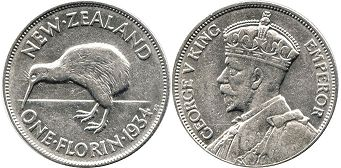 coin New Zealand 1 florin 1934