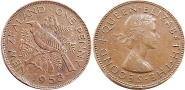 coin New Zealand 1 penny 1953