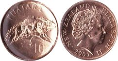 coin New Zealand 10 cents 2007