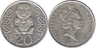 coin New Zealand 20 cents 1990