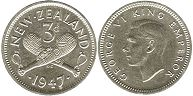 coin New Zealand 3 pence 1947