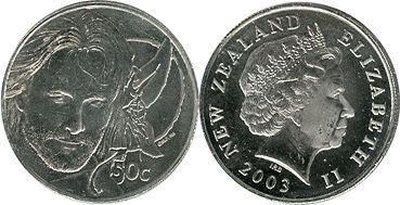 coin New Zealand 50 cents 2003 Aragon