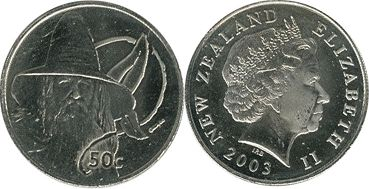 coin New Zealand 50 cents 2003 Gandalf