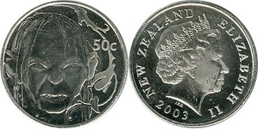 coin New Zealand 50 cents 2003 gollum