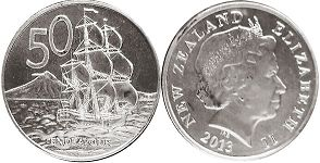 coin New Zealand 50 cents 2013