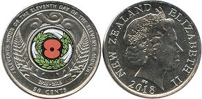 coin New Zealand 50 cents 2018 Armistice Day RED POPPY