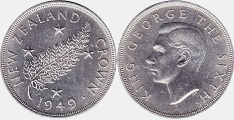 coin New Zealand 1 crown 1949