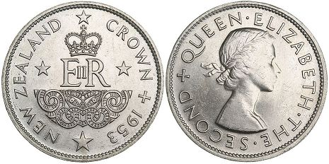 coin New Zealand 1 crown 1953