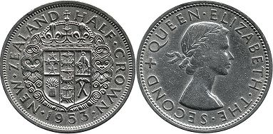 coin New Zealand 1/2 crown 1953