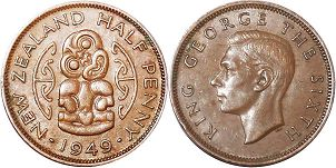 coin New Zealand 1/2 penny 1949