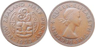 coin New Zealand 1/2 penny 1953