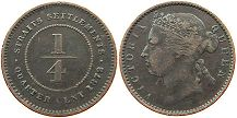 coin Straits Settlements 1/4 cent 1872
