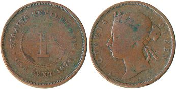 coin Straits Settlements 1 cent 1874