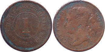 coin Straits Settlements 1 cent 1885