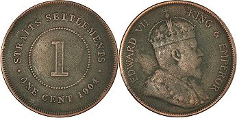 coin Straits Settlements 1 cent 1904