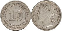 coin Straits Settlements 10 cents 1890