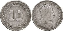 coin Straits Settlements 10 cents 1902