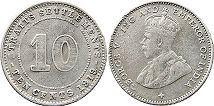 coin Straits Settlements 10 cents 1919