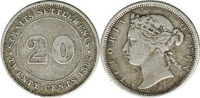 coin Straits Settlements 20 cents 1882