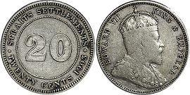 coin Straits Settlements 20 cents 1903