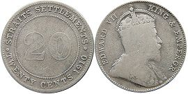 coin Straits Settlements 20 cents 1910