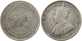 coin Straits Settlements 20 cents 1919