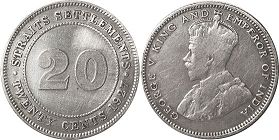 coin Straits Settlements 20 cents 1927