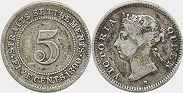 coin Straits Settlements 5 cents 1890