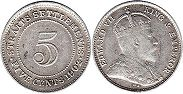 coin Straits Settlements 5 cents 1902