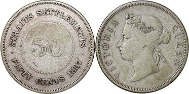 coin Straits Settlements 50 cents 1887