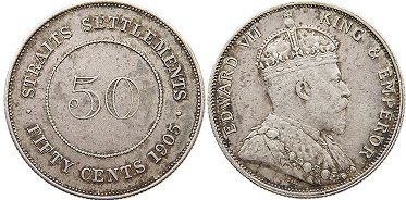 coin Straits Settlements 50 cents 1905