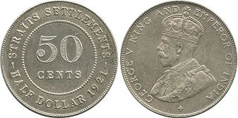 coin Straits Settlements 50 cents 1921