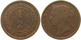 coin Straits Settlements 1/2 cent 1872