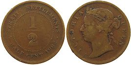 coin Straits Settlements 1/2 cent 1884