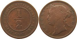 coin Straits Settlements 1/2 cent 1889